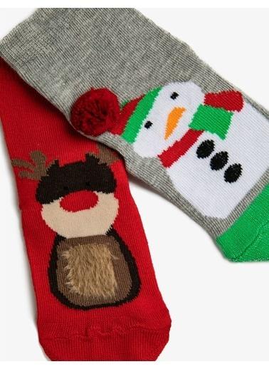 Koton Erkek Çocuk 2'li Desenli Pamuklu Çorap Seti Gri